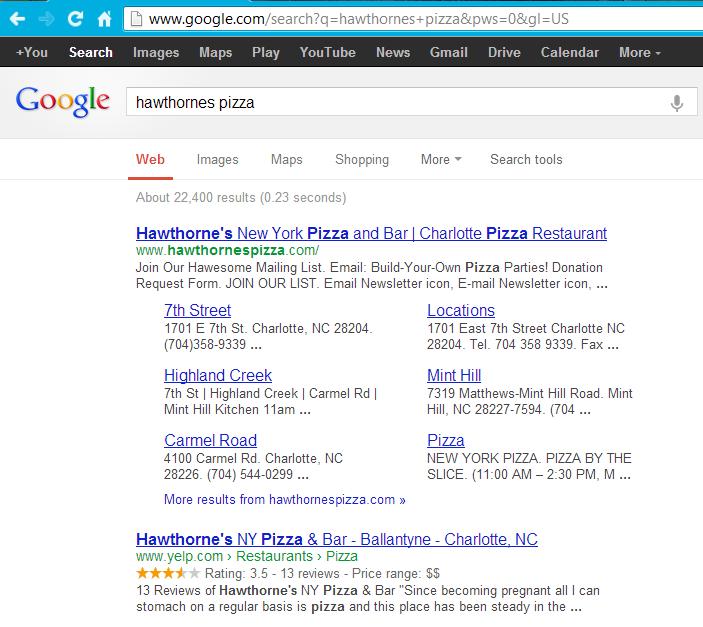 hawthornes google search