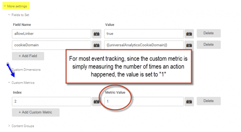 custom metrics in GTM