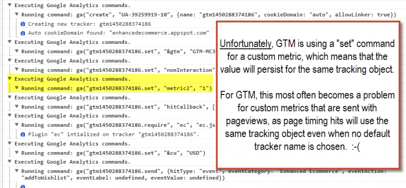 custom metrics set in GTM