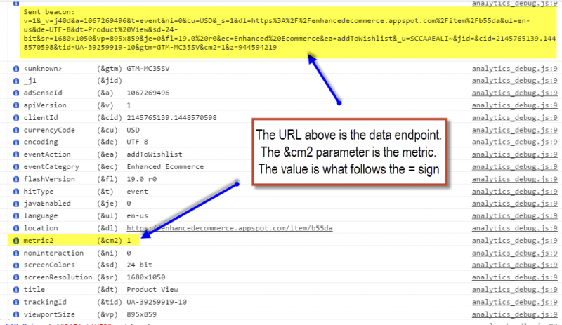 data endpoint for hit level custom metric