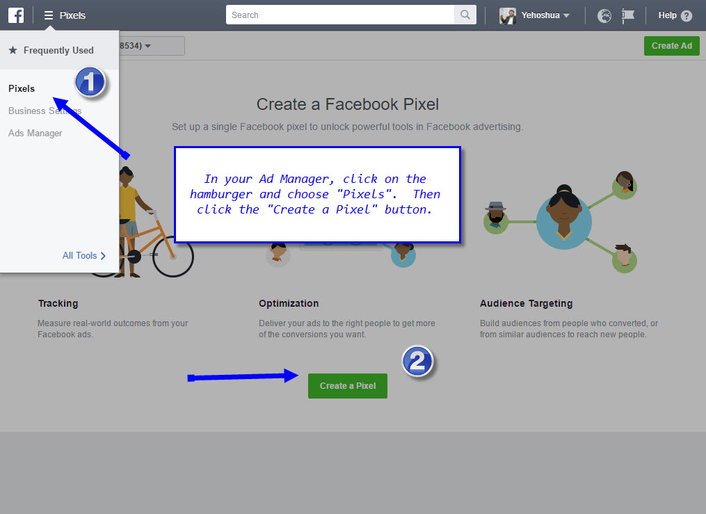 Create a Facebook Pixel by clicking the button
