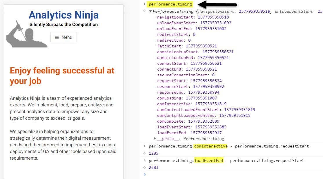 analytics ninja timing values